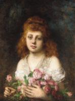 Цветы и натюрморты - картины художников прошлых веков - Рыжеволосая девушка с букетом роз