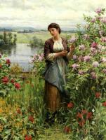 Цветы и натюрморты - картины художников прошлых веков - Джулия среди роз