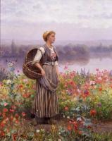 Цветы и натюрморты - картины художников прошлых веков - Девушка цветов