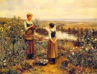 Цветы и натюрморты - картины художников прошлых веков - Собирая цветы