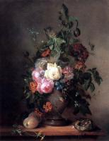 Цветы и натюрморты - картины художников прошлых веков - Розы, маки, тюльпаны с персиками и птичьим гнездом