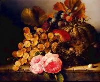Цветы и натюрморты - картины художников прошлых веков - Натюрморт с птичьим гнездом, розами, дыней и виноградом