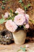 Цветы и натюрморты - картины художников прошлых веков - Натюрморт с розами в вазе и птичьим гнездом