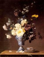 Цветы и натюрморты - картины художников прошлых веков - Розы и другие цветы в голубой вазе