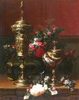 Цветы и натюрморты - картины художников прошлых веков - Немецкий кубок, чаша наутилус и срезанные розы на столе