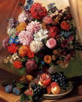 Цветы и натюрморты - картины художников прошлых веков - Натюрморт -Букет цветов - розы, гвоздики, пионы и маргаритки и фрукты в вазе