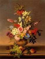Цветы и натюрморты - картины художников прошлых веков - Букет из различных цветов в вазе, виноград и персики