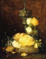 Цветы и натюрморты - картины художников прошлых веков - Серебряная Чаша с Розами