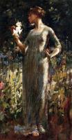 Цветы и натюрморты - картины художников прошлых веков - Дочь ночи ( девушка с букетом лилий )