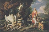 Жанровые сцены - Диана и её охотничьи псы возле битой дичи
