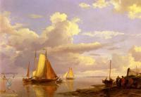 Море в живописи ( морские пейзажи, seascapes ) - Рыбацкие шхуны покидают берег на закате