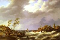 Море в живописи ( морские пейзажи, seascapes ) - Рыболовецкие лодки попавшие в шторм