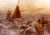 Море в живописи ( морские пейзажи, seascapes ) - Лодки возвращающиеся в плохую погоду