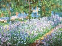 Моне Клод (Claude Monet) - Клумба с ирисами в саду