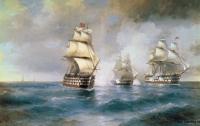 "Aivazovsky, Ivan Constantinovich - Бриг ""Меркурий"", атакованный двумя турецкими кораблями"