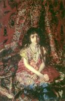 Vrubel Michail - Девочка на фоне персидского ковра