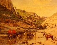 Пейзаж ( пейзажная живопись ) - Арабы, отдыхающие в ущелье