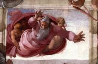 Отделение земли от воды ( деталь ) ::  [ fresco Separation of the Earth from the Waters (detail) by MICHELANGELO ]