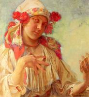 Alfons Maria Mucha - Юная девушка в моравском костюме