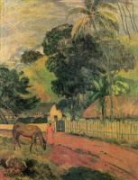 Paul Gauguin - Пейзаж (Лошадь на дороге)