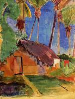 Гоген Поль ( Paul Gauguin ) - Хижина под пальмовыми деревьями