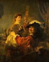Rembrandt - Автопортрет с Саскией на коленях