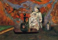 Paul Gauguin - Натюрморт с графином и статуэткой