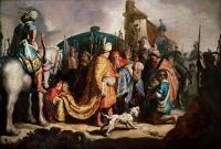 Rembrandt - Давид с головой Голиафа перед Саулом