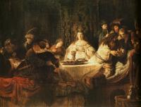 Rembrandt - Самсон, загадывающий загадку за свадебным столом