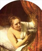Rembrandt - Молодая женщина в кровати