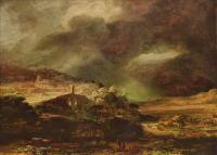 Rembrandt (Рембрандт) - Город на холме при надвигающейся грозе