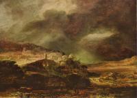 Rembrandt - Город на холме при надвигающейся грозе