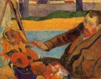 < Портрет Винсента ван Гога, рисующего подсолнухи >  :: Поль Гоген [ живопись постимпрессионизм ]
