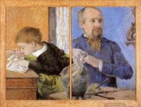 Paul Gauguin - Портрет скульптора Обе с сыном