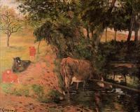 Гоген Поль ( Paul Gauguin ) - Пейзаж с коровами в фруктовом саду