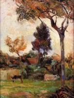 Гоген Поль ( Paul Gauguin ) - Две коровы на лугу