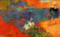Paul Gauguin - Бретонская женщина с гусём у воды