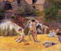 Гоген Поль ( Paul Gauguin ) - Купальщики у мельницы Бойс д'Амур, Понт-Авен