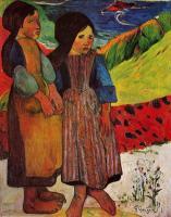 Гоген Поль ( Paul Gauguin ) - Маленькие бретонки у моря