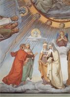 Фрески, монументальная живопись, роспись стен - Цикл фресок в Казино Массимо (Рим), Дантевский зал. Эмпирей и восемь небес Рая. Фрагмент. Небо луны