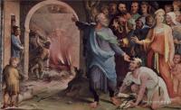 Фрески, монументальная живопись, роспись стен - Политические добродетели. Трибун Публий Муций посылает своих союзников на костёр
