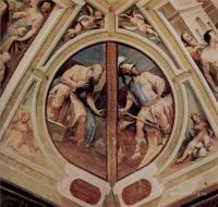Фрески, монументальная живопись, роспись стен - Политические добродетели.  Спевсипп Тегеат и Фабий Великий