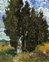 Van Gogh - Кипарисы и две женщины