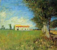 Ферма в пшеничном поле [ картина - пейзаж ] :: Ван Гог, описание картины