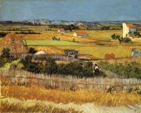 Пейзаж со сбором урожая и голубой повозкой [ картина - пейзаж ] :: Ван Гог, описание картины
