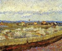 Ла Кро с персиковыми деревьями в цвету, пейзаж :: Ван Гог, описание картины
