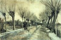 Van Gogh - Дорога с голыми ивами и мужчина с метлой