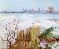 Van Gogh - Заснеженный пейзаж с Арли на заднем плане