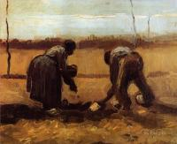 Van Gogh - Крестьянин с крестьянкой сажают картофель